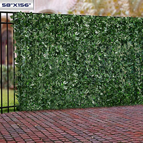 "Windscreen4less Artificial Faux Ivy Leaf Decorative Fence Screen 58.5"" x 156"" Ivy Leaf Decorative Fence Screen"