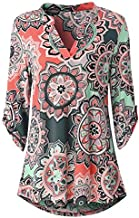 Womens Floral Printed Tunic Shirts 3/4 Roll Sleeve Notch Neck Casual Tunic Top, Fashion Style for Ladies and Girl Watermelon Red