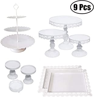 Set of 9 Pieces Iron Cake Stand and Pastry Trays Metal Cupcake Holder Fruits Dessert Display Plate for Baby Shower Christmas Wedding Birthday Party Celebration White