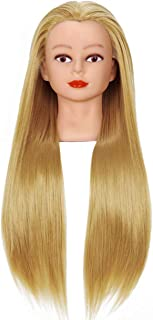"""Cosmetology Mannequin Head with Synthetic Hair and Adjustable Stand 26-28"""" Blonde for Braiding Hair Styling Training Hairart Hairdressing Salon Display"""