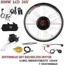 OUKANING Kit de conversión de Motores eléctricos para Bicicleta 36V 800W 28'' +LCD Display E-Bike Kit de conversión para la Rueda Traser