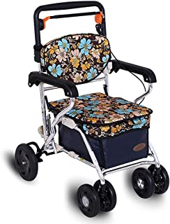 Walkers for seniors Self-propelled Shopping Trolley Aluminum, Walker for seniors with shopping basket, Multi-function roll...