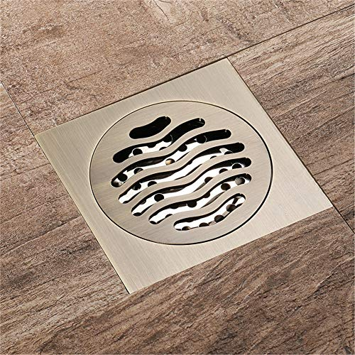 PIJN Bodenablauf Großer Fluss Badezimmer Quadrat Rund Bodenablauf All Kupfer Anti-Geruch Bodenablauf (Color : Metallic, Size : 100x100x41mm)
