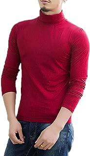 Elonglin Men's Long Sleeve T-Shirt Top Blouse Cotton Basic Shirt Turtleneck Jumper Autumn Winter Casual Pullover