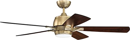 """lowest Craftmade high quality STE52SB5 Stellar 52"""" Ceiling Fan with LED Light and Remote, Satin sale Brass outlet online sale"""