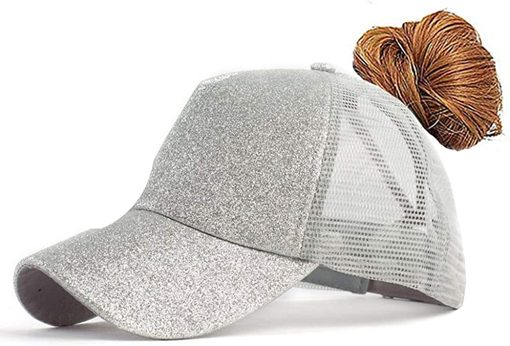 FGSS Adjustable Ponytail Messy Buns Sequined Baseball Hat