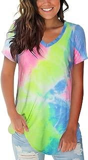 FOWSMON Women's Casual V Neck Short Sleeve Tops Basic Summer T Shirts