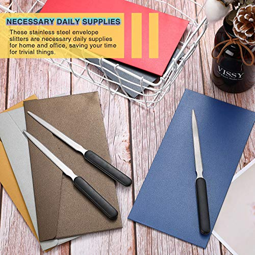 3 Pieces Office Letter Opener Stainless Steel Hand Envelope Slitter Lightweight Open Letter Knife Humanized Grip Handle Staple Removal Tool Mail Opener for School Office Home Photo #7
