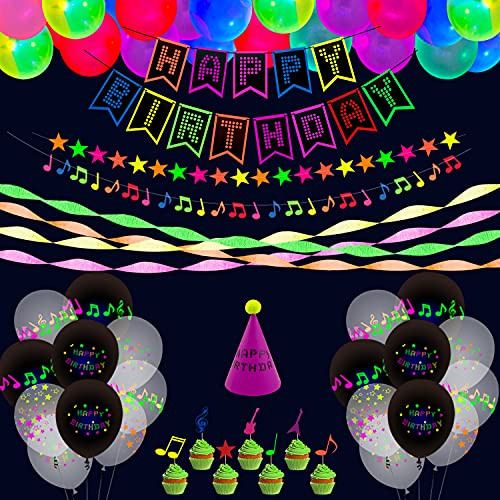 65 Pieces Glow Neon Birthday Party Supplies - Neon Balloons, Fluorescent Happy Birthday Banner, UV Black Light Reactive Crepe Paper, Cake Topper, Musical Note Stars Garlands and Hats Decorations