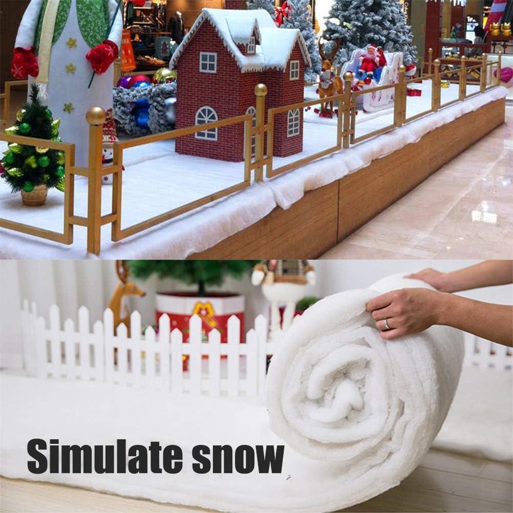 Qiekenao Couverture de neige de No/ël en coton artificiel d/écor/é avec jupe darbre de No/ël