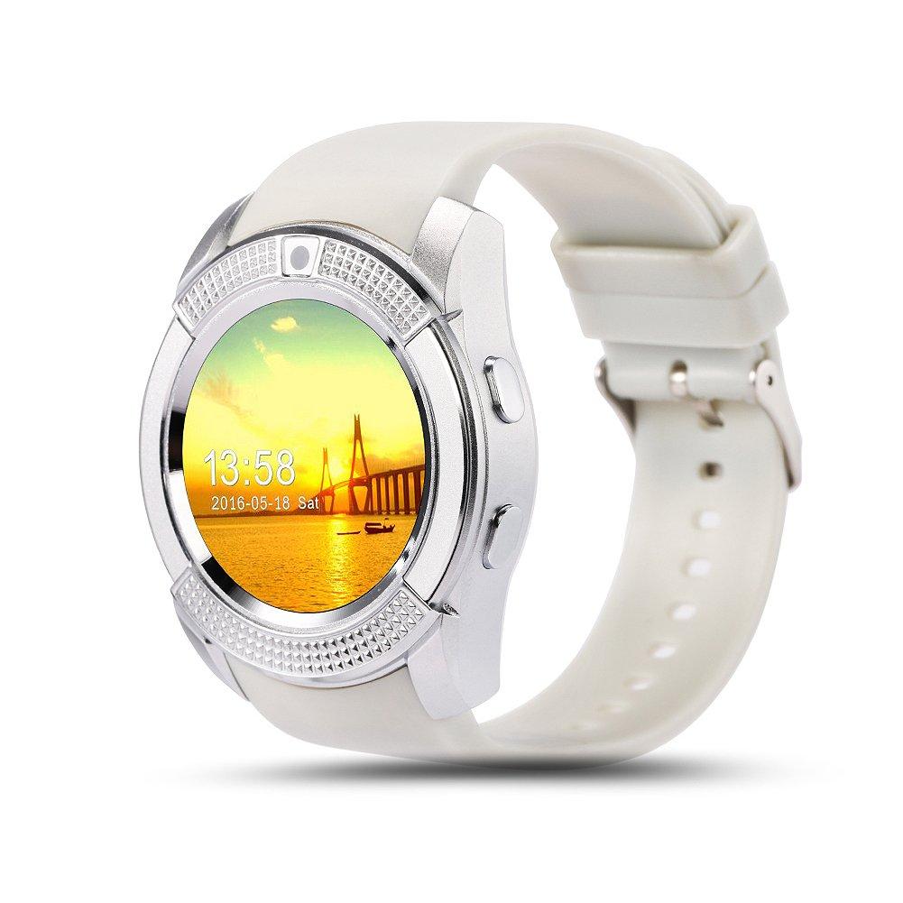 V8 Smart Watch Fitness Tracker SD Card SIM Card Smartwatch Teléfono Podómetro Monitor de Sueño Caminando Distancia Inalámbrico Smart Pulsera para teléfonos Android, Gris Claro: Amazon.es: Deportes y aire libre