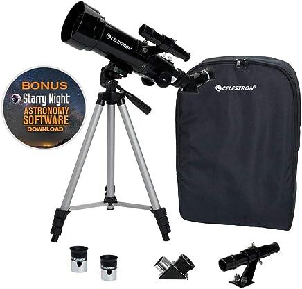 Celestron - 70mm Travel Scope – Portable Refractor Telescope – Fully Coated Glass Optics - Ideal Telescope for Beginners - BONUS Astronomy Software Package