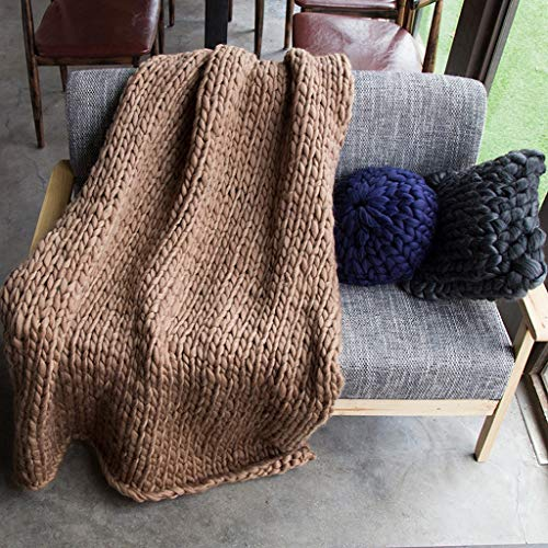Hcxbb-g Werpen Chunky Knit deken, blokkerende knit-sofa-deken gebreide deken handgemaakte werp slaapkamerdecoratie-deken super groot bed-sofa-deken (kleur: Deep kaki, size: 120 * 150 cm)