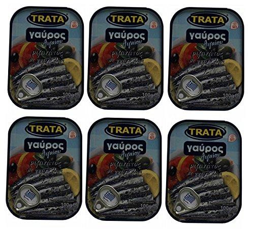 6x 100g Spar Set Sardellen in Öl und Oregano eingelegt Trata Griechenland Fisch in Öl Konserve + Probiersachet Olivenöl aus Kreta 10ml