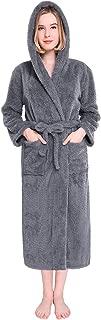 Womens Hooded Robes Plush Bathrobe Warm Fleece Robe