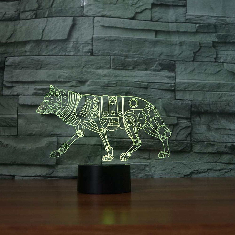 Laofan 3D Led Bunte Gradienten Atmosphre Tier Wolf Nightlights Hund Tischlampe Schlafzimmer Nacht Dekor Baby Schlaf Beleuchtung Geschenke,Remote und berühren