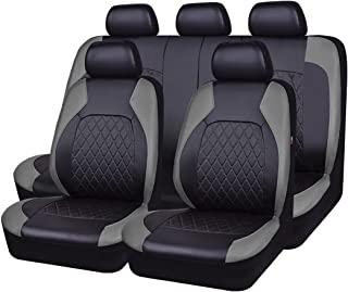 NEW ARRIVAL- HORSE KINGDOM Universal Car Seat Covers Faux Leather Full Seat 11 pcs Airbag Compatible Breathable (black with gray)
