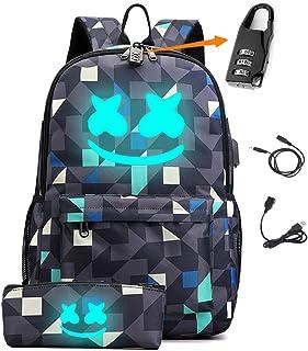 Smile Luminous Backpack with USB Charging Port & Anti-theft Lock & Pencil Case for School, Unisex School Bookbag Daypack L...