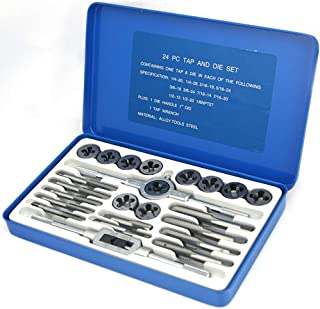NORTOOLS Alloy Steels Tap and Die Set SAE Inch Sizes Essential Threading Home Tool Cutting Threads Gauge Kit with Storage Case for Occasional Use 24/40-Piece