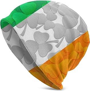allgobee Beanie Men Women Irish Flag Shamrocks Warm Skull Knit Hat Unisex Slouchy Soft Headwear Cuffed Cap Black