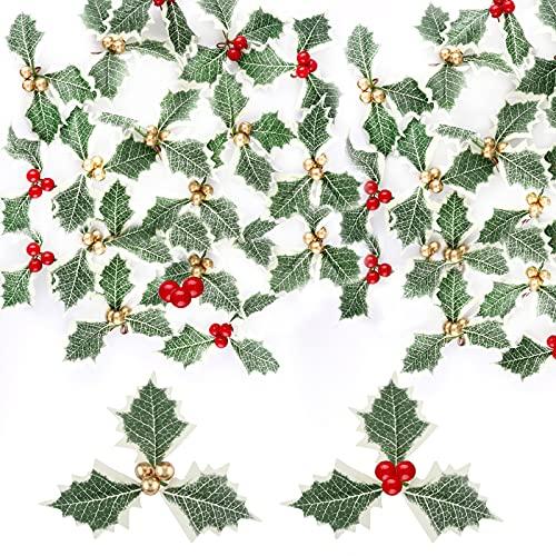 Gukasxi 40 pezzi artificiali di agrifoglio con foglie verdi Simulazione di agrifoglio bacche agrifoglio agrifoglio Bacche di agrifoglio per la disposizione di ghirlanda di Natale fai da te