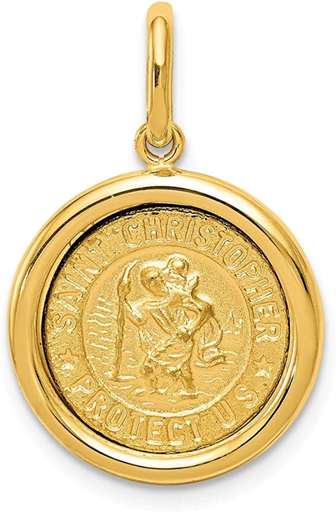14k discount Yellow Gold St Large-scale sale Christopher Reli Pendant Charm Medal Necklace