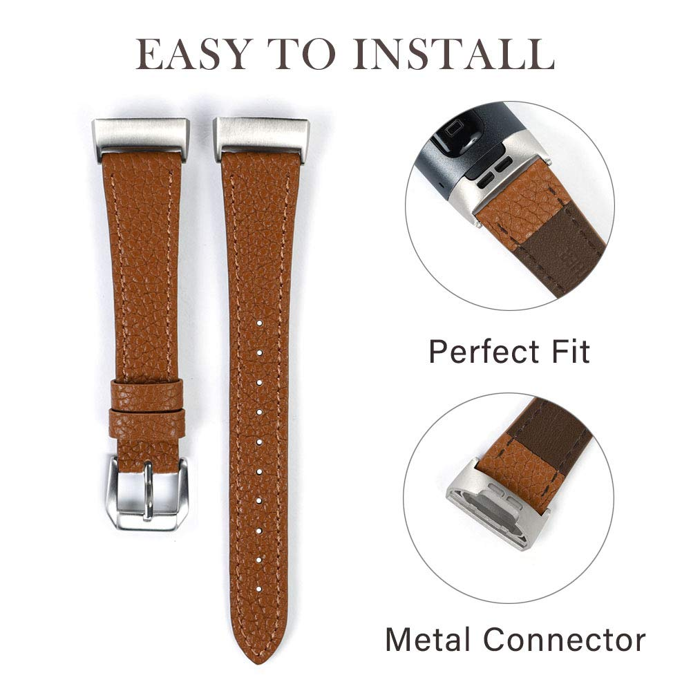 Nigaee for Fitbit Charge 4// Fitbit Charge 3 Band Brown Genuine Leather Bands Classic Wristbands Slim Replacement Strap Compatible with Fitbit Charge 3 and Charge 3 SE Women Men
