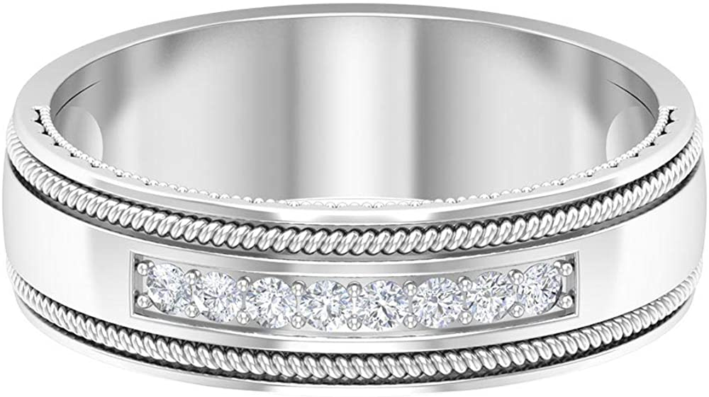 Unisex 0.12 CT Certified Diamond Wedding Engagement Ring, Solid Gold Engraved Twisted Wide Anniversary Band Ring, Birthday Matching Promise Ring Gifts, 14K Gold