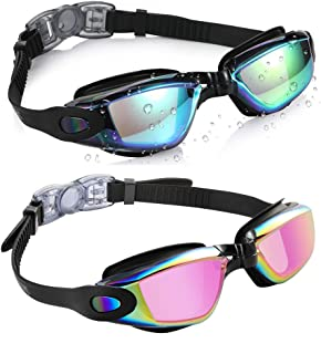 aegend Swim Goggles, Pack of 2 Swimming Goggles No Leaking Anti Fog UV Protection Crystal..