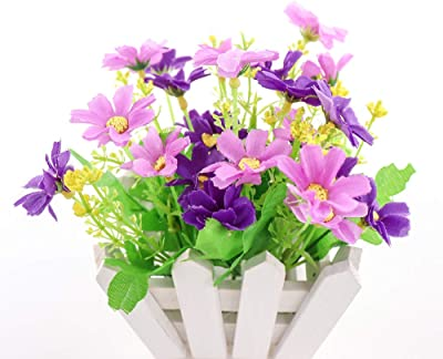 Yunuo Wedding Decorative Artificial Flowers Small Potted Plant Fake chrysanthemun Fence Set Home Decoration (Purple