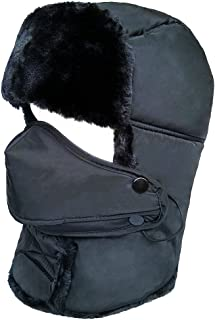Winter Trapper Ushanka Hat Unisex Faux Fur Waterproof Hunting Hat with Breathable Mask