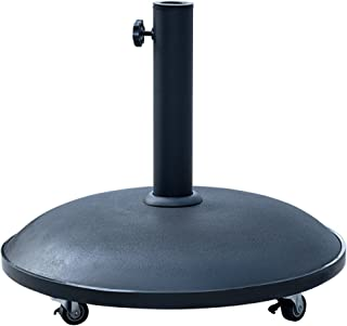 Sundale Outdoor 55lbs Heavy Duty Stand Concrete Umbrella Base with 4 Wheels, Black