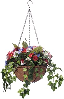 "OakRidge Fully Assembled Artificial Daisy and Greenery Hanging Basket with LED Fairy Lights, 15"" Diameter Basket"