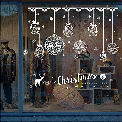 Tienda de Navidad decoración de escaparates pegatinas de pared extraíbles campanas de Navidad pegatinas de ciervos pegatinas de pared productos de decoración del hogar