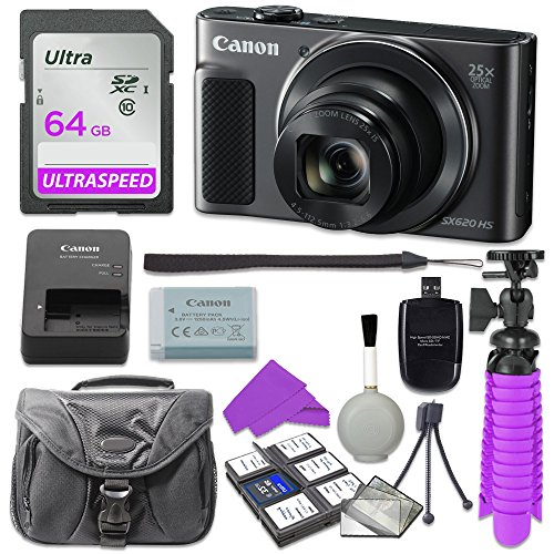 Canon PowerShot SX620 HS Digital Camera (Black) with 64GB SD Memory Card + Accessory Bundle