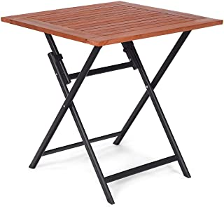 Tangkula Folding Patio Table, Wood Table Portable Patio Deck Garden Furniture Outdoor Indoor Card Tables, Folding Tray Table, Square Dining Table, Compact Picnic Table, Folding Teak Table