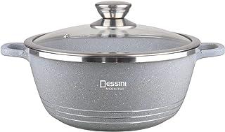 Die-Cast GRAY Granite Non-Stick Cooking Pot, Dessini Made In Italy- (28 CM)