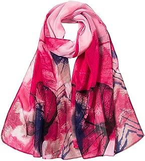 LIULIULIU Fashion Fantasy Women Leaves Printing Long Soft Wrap Scarf Ladies Shawl Scarves