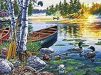 YTHSFQ DIYペイントバイナンバーキット大人用 - 川の木造船 初心者用のキャンバスに番号キットでペイント  ホームウォールデコ   プレプリントアートクオリティキャンバス 20インチ×16インチ、アクリル塗料 (フレームなし)