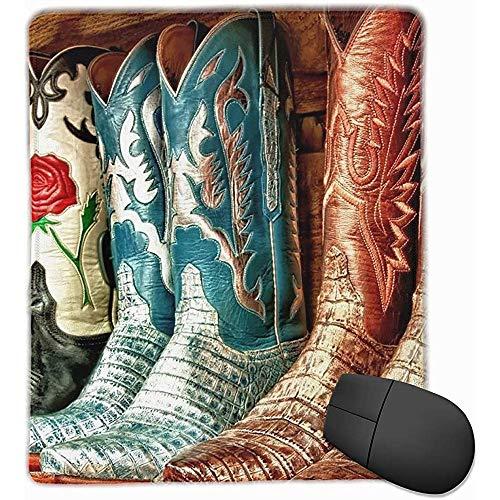 Anti-slip rubberen voet muismat voor laptop computer PC persoonlijkheid Desings Gaming muismat mat (kleurrijke cowboy laarzen Illustratie, 18 x 22 CM)