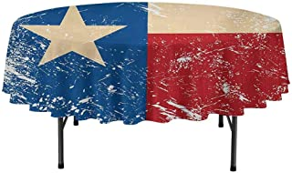 Texas Star Easy to Care for Leakproof and Durable Round tablecloths Grunge Flag Illustration with Lone Star Retro Independence Sign Outdoor Picnic D59 Inch Vermilion Beige Navy Blue
