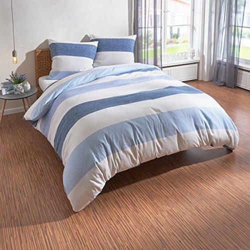 Traumschlaf Biber Bettwäsche Streifen blau 1 Bettbezug 155 x 220 cm + 1 Kissenbezug 80 x 80 cm