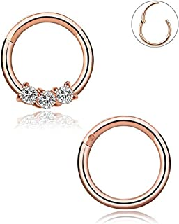 YOVORO 16G 2PCS 316L Stainless Steel Nose Rings Hoop Septum Clicker Ring Cartilage Tragus Piercing 8MM