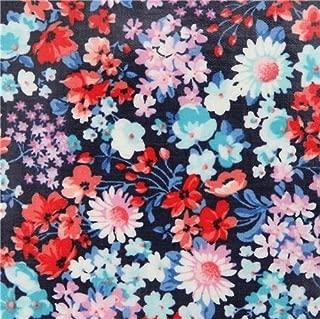 Small Flower Navy Blue Laminate Fabric by Robert Kaufman London Calling Slicker (per 0.5 Yard Units)