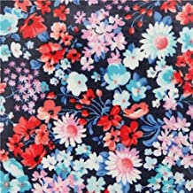 Small Flower Navy Blue Laminate Fabric by Robert Kaufman London Calling Slicker (per 0.5 Yard Units)