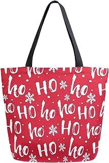 ZZXXB Wiederverwendbare Einkaufstasche mit weihnachtlichem Hoho-Motiv aus strapazierfähigem Segeltuch, groß, faltbar, waschbar, für Damen