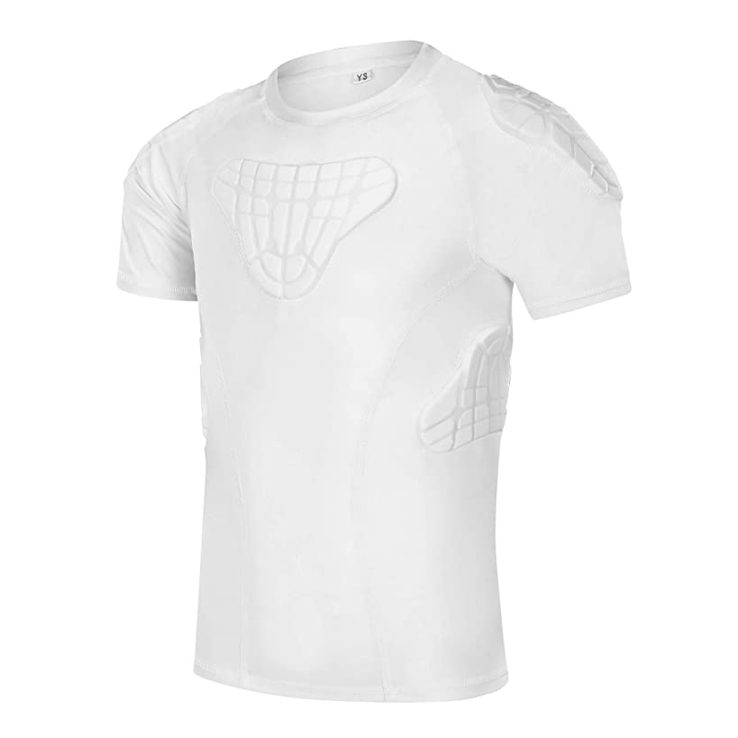 TUOYR Padded Shirt Youth Boys Padded Compression Sports Protective T-Shirt Rib Chest Protector Extreme Exercise