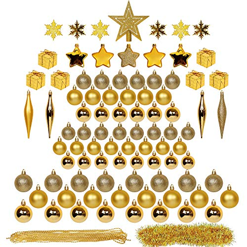 Blissun Christmas Ball Ornaments, 90ct Christmas Ornaments for Christmas Trees, Shatterproof Christmas Decorations Ornaments Set for Xmas Tree Decorations, Xmas Holiday Party Hanging Ball, Gold