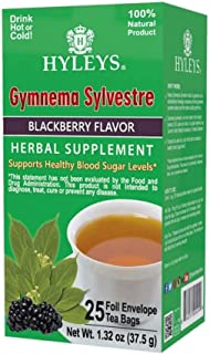 Hyleys Natural Wellness Gymnema Silvestre Green Tea With Blackberry Flavor - 25 Tea Bags (100% Natural, Sugar Free, Gluten...
