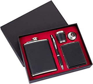 GENNISSY 8OZ Hip Flask Set - PU Leather and Stainless Steel With Funnel and 1 Cup 1 Pen 1 Cigarette Case